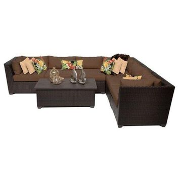 TK Classic Barbados 7-Piece Outdoor Wicker Sofa Set, Cocoa