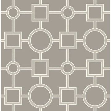 Brewster Matrix Taupe Geometric Wallpaper