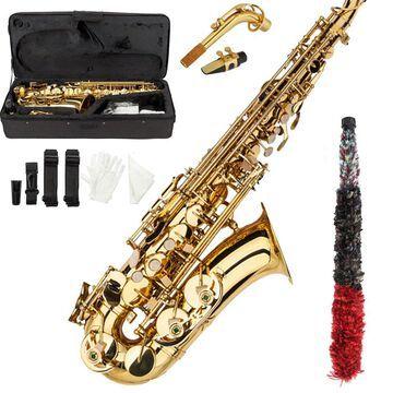 New Professional Band Eb Alto Sax Saxophone Paint Gold w/ Case & Accessories