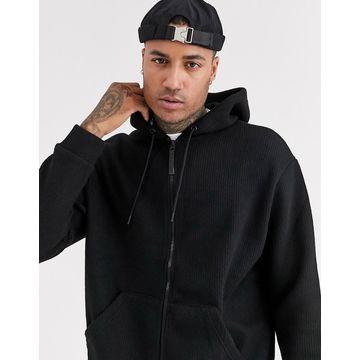 Bershka knitted zip through hoodie in black