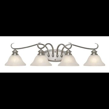 Golden Lighting 6005-BA4 4 Light Down Light Bathroom Fixture from the Lancaster Collection Pewter Indoor Lighting Bathroom Fixtures Vanity Light