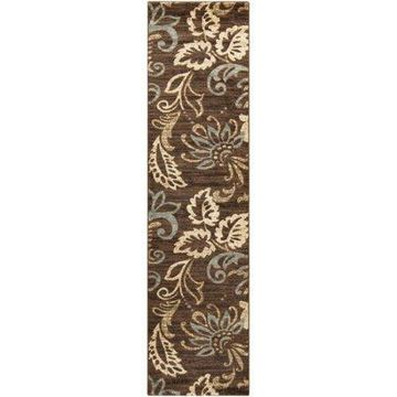 """Art of Knot Ceratonia Brown 6'7"""" x 9'6"""" Cottage Floral Area Rug"""