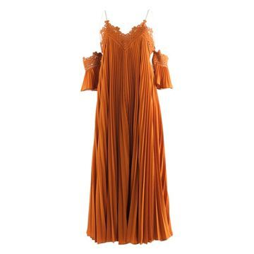 Self Portrait Orange Polyester Dresses