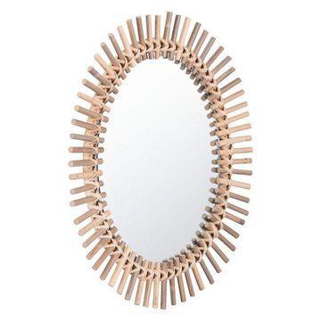 Zuo Modern Sole Round Mirror, Brown