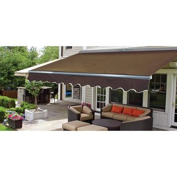 ALEKO Sunshade Half Cassette Retractable Patio Awning 12x10 ft Brown (Brown)