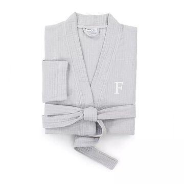 Linum Home Textiles Turkish Cotton Smyrna Personalized Luxury Robe, Men's, Size: Large/XL, Grey