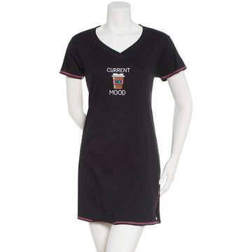 Womens Rene Rofe Current Mood Short Sleeve Embroidered Nightshirt