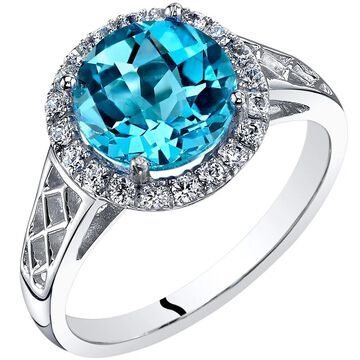 Oravo 14K White Gold Swiss Blue Topaz Galleria Ring 2.50 Carats