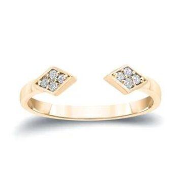 Auriya 1/10ctw Open Cuff Diamond Ring 14k Gold Stackable Band (5.5 - Yellow)
