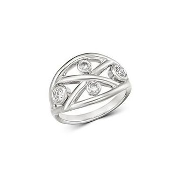 Roberto Coin 18K White Gold Diamond Baci Ring