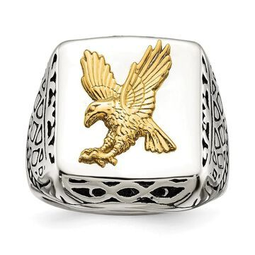 Chisel Stainless Steel with 14K Gold Accent Antiqued and Polished Eagle Ring