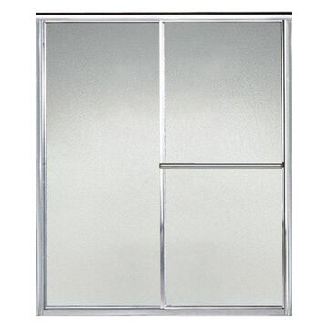 Sterling Deluxe Sliding Shower Door, Silver with Pebbled Glass Texture