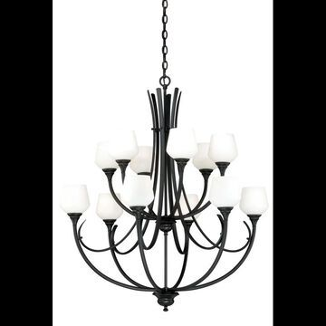 Vaxcel Lighting H0129 Grafton 12 Light Two Tier Chandelier with Glass Shades - 36 Inches Wide Oil Rubbed Bronze Indoor Lighting Chandeliers