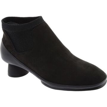 Camper Women's Alright Ankle Boot Black Leather/Elastic Fabric