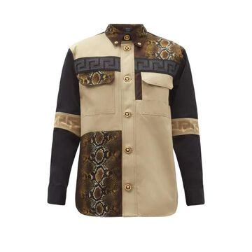 Versace - Patchwork Cotton-twill Shirt - Mens - Brown
