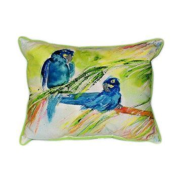 Pair of Betsy Drake Two Blue Parrots Large Indoor/Outdoor Pillows 16 In X 20 In