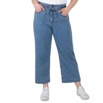 Silver Jeans Co. Plus Size Belted High-Rise Wide-Leg Crop Jeans