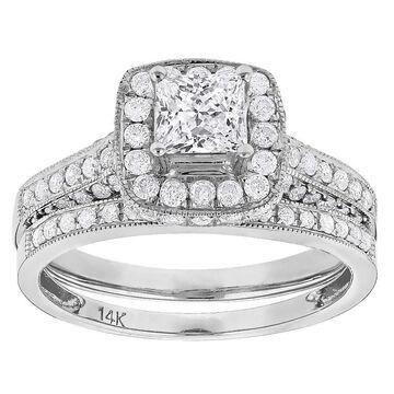Luxurman 14k Gold 1 7/8ct TDW Princess-cut Diamond Halo Engagement Ring Set (G-H, SI1-SI2)