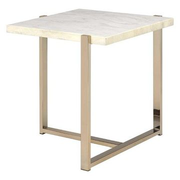 ACME Furniture Feit End Table, Chrome and White