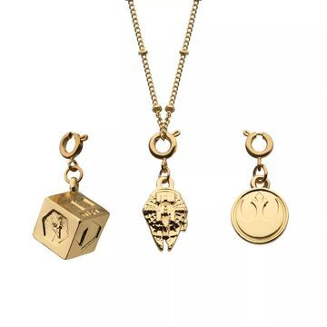 Star Wars Han Solo Gold Tone Interchangeable Charm Necklace