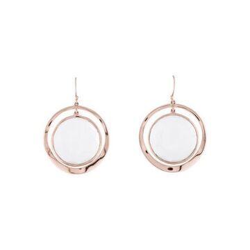Quartz Rose Drop Earrings silver