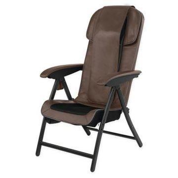 HoMedics Fold-Away Massaging Shiatsu Lounge Chair in Brown