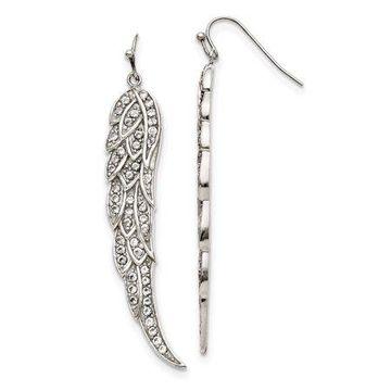 Primal Steel Stainless Steel CZ Shepherd Hook Dangle Earrings