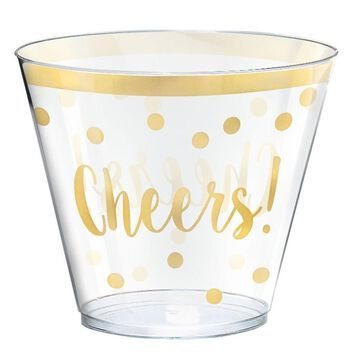 Amscan New Year's 3 in. Printed Plastic Tumblers in Gold