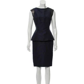 Silk Sleeveless Dress Navy