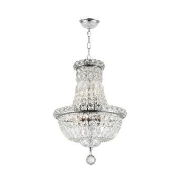 Worldwide Lighting Empire 6-Light Chrome Finish and Clear Crystal Chandelier