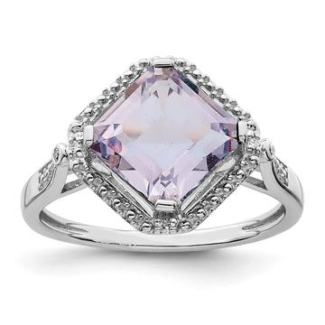 Sterling Silver Rhodium-plated Diamond and Pink Quartz Square Ring by Versil (6)