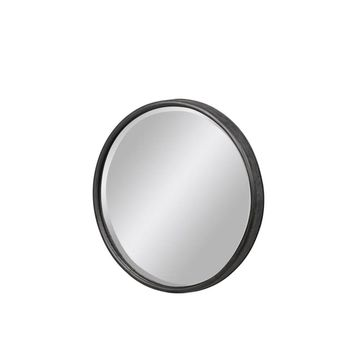 Urban Trends Metal Round Decorative Wall Mirror with Keyhole Hanger in Tarnished Finish, Small - Gray - Grey