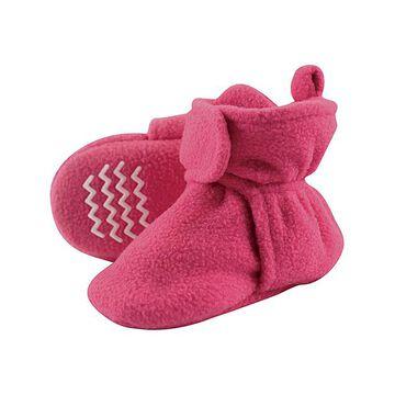 Hudson Baby Girls' Infant Booties and Crib Shoes Dark - Magenta Fleece Nonskid Bootie - Girls
