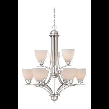 Vaxcel Lighting AL-CHU009 Avalon 9 Light Two Tier Chandelier with Frosted Glass Shades - 29.5 Inches Wide Brushed Nickel Indoor Lighting Chandeliers