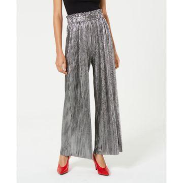 Juniors' Pleated Metallic Pants