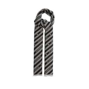Givenchy - Chain-jacquard Wool-blend Scarf - Mens - Black White