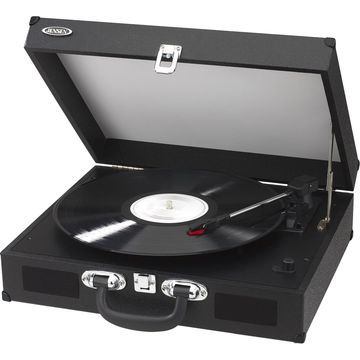 JENSEN JTA-410-BLK Portable 3-Speed Stereo Turntable with Built-in Speakers (Bla