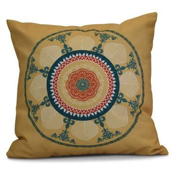 Stained Glass Geometric Print Outdoor Pillow, Gold, 18