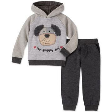 Kids Headquarters Little Boys 2-Pc. Dog Applique Fleece Hoodie & Sweatpants Set