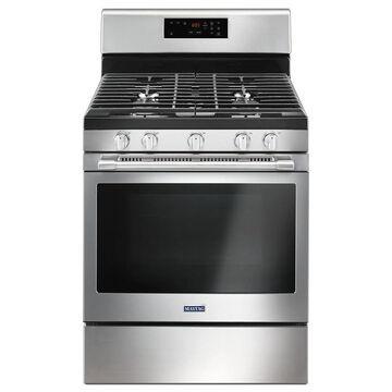 Maytag 5-Burner 5-cu ft Self-Cleaning Freestanding Gas Range (Fingerprint-Resistant Fingerprint Resistant Stainless Steel) (Common: 30-in; Actual: 29.875-in)