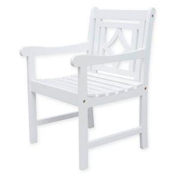 Vifah Bradley Diamond Patio Armchair in White