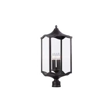 "Kalco Lakewood Outdoor 4-Light 26"" Outdoor Post Light in Aged Iron"