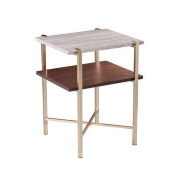 Southern Enterprises Valera Square Faux Marble End Table with Storage