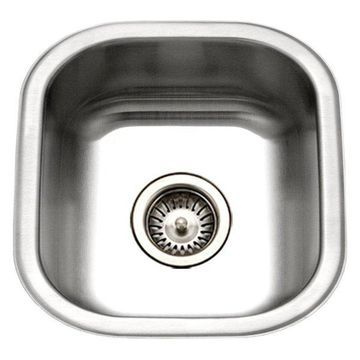 Houzer MS-1708-1 Club Undermount Stainless Steel Square Bowl Bar/Prep Sink
