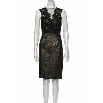 V-Neck Knee-Length Dress Black
