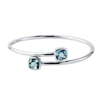 Stackable 5ct Cushion-cut Sky Blue Topaz Bypass Bangle Bracelet by Auriya in Gold over Silver