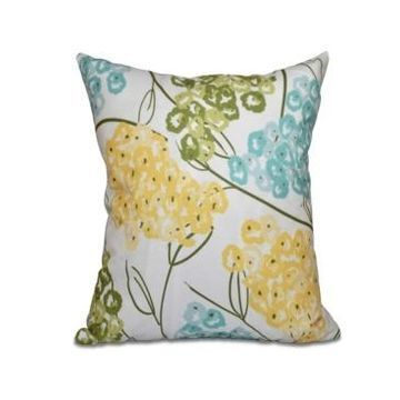 Hydrangeas 16 Inch Yellow and Aqua Decorative Floral Throw Pillow