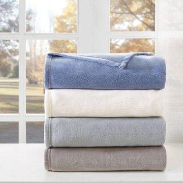 Comfort Classics Liquid Velvet Lightweight Fleece Blanket, Twin Blue