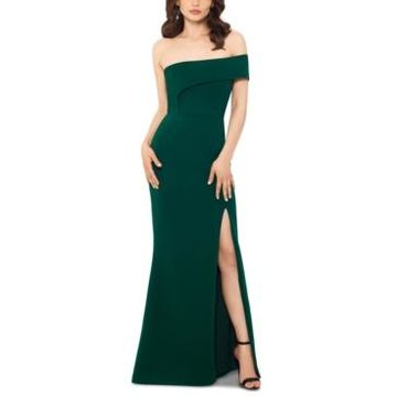 Betsy & Adam Scuba Off-Shoulder Gown