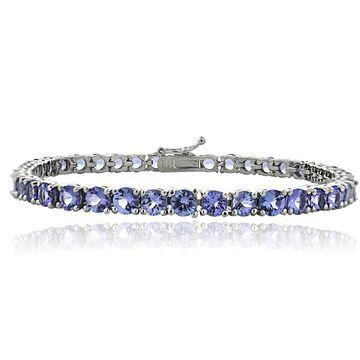 Glitzy Rocks Sterling Silver 11.25ct Tanzanite 4mm Round Tennis Bracelet
